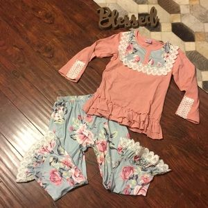 Boutique floral ruffle matching outfit Sz 6/7